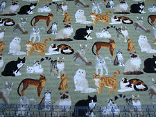 3 Yards Quilt Cotton Fabric - Fabric Traditions Patty Reed Cat Breeds Olive