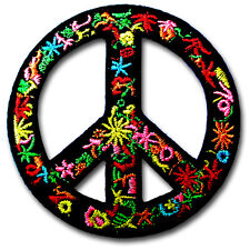 Gypsy Peace Sign Patch Embroidered Applique Iron on Hippie Retro Sew Biker Race