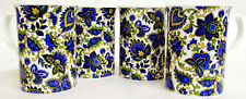 Paisley Mugs Set of 4 Fine Bone China Blue Paisley Mugs Hand Decorated in UK
