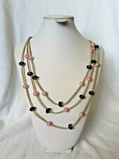 """Handcrafted Leather & Beaded Necklace 3 Strands 25"""" long"""