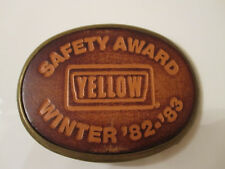 Vintage Yellow Freight Line Trucking Safety Award Brass/Leather Belt Buckle