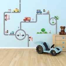 Decowall Cars Transports Roads Kids Removable Wall Stickers Decal DW-1604