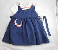 83e58162c LOVE Sanforized Girls Dress Size 3T 4T Navy Red White Blue Vintage 1950s