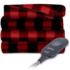 Sunbeam Electric Heated Fleece Throw 50x60 Red/Black Bed Blanket Heat Warm Soft