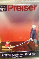 HO Preiser 28078 Man Pulling Child on Sled : Christmas Theme Figures