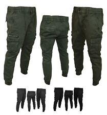 Pantaloni Uomo con Tasche Laterali Cargo jeans COTONE Tasconi Multitasche Caldo