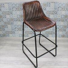 More details for industrial vintage kitchen bar stool, brown ribbed leather metal restaurant cafe
