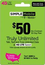 Simple Mobile $50 Unlimited Prepaid Plan 30 Days / 1 Month