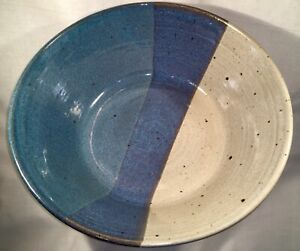 Stoneware Bowl Blue Cream Large Made In Colorado Clay Pen Pottery Co.