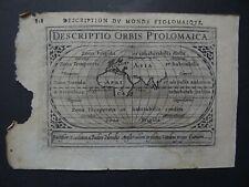 1618 BERTIUS  Atlas  PTOLEMY WORLD  map Descriptio Orbis Ptolomaica - Mappemonde