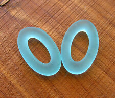 10pc Aqua blue 30mm oval donut sea beach glass pendant beads frosted recycled