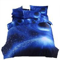3D Galaxy Queen Blue Space Duvet Cover Set W/ 2 Pillow Shams -Fast Free Shipping