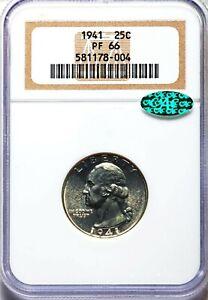 1941 NGC CAC PF66 Proof Washington Silver Quarter Nice Bright Flashy Proof
