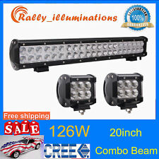 "20'' 126W Cree LED Work Light Bar Offroad Boat Lamp Spot Flood Combo + 2X 4"" 18W"