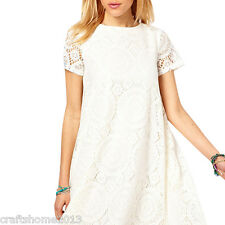 Summer Women Floral Solid Lace Short Sleeve Cocktail Party Beach Dress Plus Size