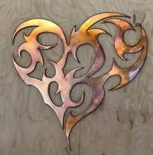 Tribal Heart Rustic Copper Patina Finish Metal Wall Art Hanging