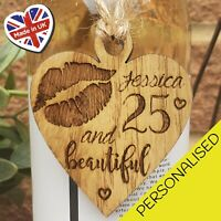PERSONALISED 18th 21st 30th 40th 50th BEAUTIFUL WOODEN BOTTLE TAG BIRTHDAY GIFT