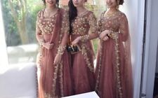 Indian Bollywood Long Churidar Dress Unique Colour Sandy Beige Rusty Gold Pearls