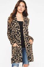 Beeson River Animal Print Sweater Cardigan Mocha Large