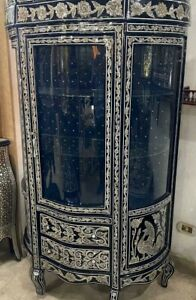 Antique Egyptian Wood Cupboard, Persian Design, Inlaid Mother of Pearl
