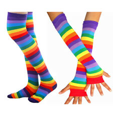 Women's LGBT Rainbow Knit Thigh High Stockings Socks + Fingerless Gloves Set