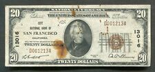 1929 $20 CITY NATIONAL BANK OF SAN FRANCISCO, CA NATIONAL CURRENCY CH. #13016