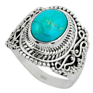 4.22cts Natural Green Turquoise Tibetan Silver Solitaire Ring Size 6.5 R53503