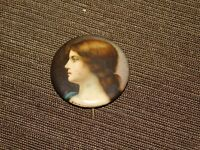 "VINTAGE 1 1/4"" ACROSS  CHESTERFIELD CIGARETTES VICTORIAN LADY PIN BACK BUTTON"