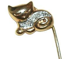 Sleeping Kitten Vintage Stick Pin New listing 14K Yellow Gold & Diamond