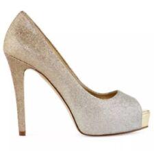 A.N.A Everly Sz 8.5M Gold/Silver Glitter Peep Toe High Heels Pumps wedding prom
