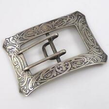 Art Nouveau Men's Belt Buckle Lfd6 Vtg Antique Victorian Large Sterling Silver