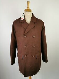 B1 Cotton Traders Mens Brown Double Breasted Herringbone Reefer Coat Jacket L XL