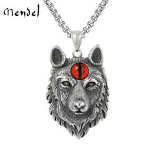 MENDEL Mens Evil Eye Wolf Head Necklace Pendant Stainless Steel Jewelry Chain