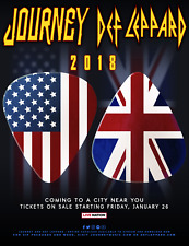 DEF LEPPARD /JOURNEY 2018 CONCERT TOUR POSTER -U.K. & U.S. Flags On Guitar Picks