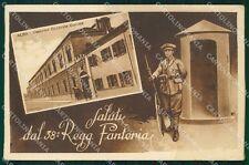 Cuneo Alba Caserma 38º Reggimento Fanteria Militari cartolina QT7635