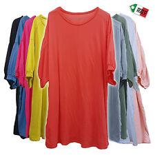 Italian Lagenlook Cotton Tunic Top Puffed Sleeve Plus Size  20 22 24 26