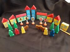 35 pc Wood Toy Town Buildings w Red Roofs People Trees Sign Animal Block Simplex