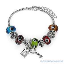 Evil Eye Murano Glass European Charm Bead Greek Nazar Hamsa Kabbalah Bracelet