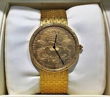 MINT MEN'S CORUM $20 AMERICAN DOUBLE EAGLE GOLD COIN WATCH w/SOLID GOLD BAND