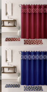GEOMETRIC NEW PRINT DESIGN BATHROOM SET BATH MATS RUG SHOWER CURTAIN LID COVER