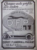 AD PRINT Original 1913 - Automobiles DORIOT FLANDRIN & PARANT