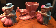 3 vtg planters, donkey with cart, 2 boy and girl planters,Mint