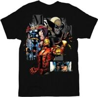 Marvel Comics Heroglyphics Team Ups Black Adult T-shirt