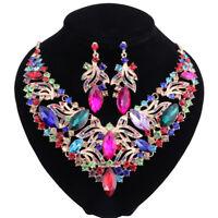 Women Rhinestone Crystal Statement Necklaces Earring Boho Wedding Jewelry Sets