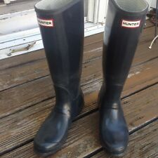 Hunter Blue Wellies Rain Boots Womens 9 Mens 8 40 41 Tall Galoshes Rubber Shoes