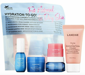 Laneige Hydration To Go Normal To Dry Skin 5 Pc Travel Set Cleanser Cream Mask