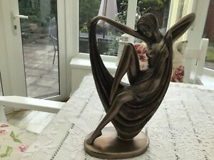 Beautiful Art Deco Naked Bronze Effect Lady Figurine With Scarf
