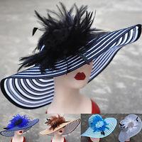 Womens Foldable Wide Brim Floral Floppy Feather Race Church Wedding Bridal Hat