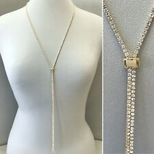 Gold Finish Dainty Clear Rhinestones Adjustable Slider Long Necklace