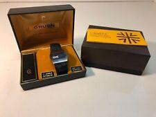 Vintage Gruen 17J Jump Hour Autowind Minute Second Watch Complete w/Box+ 1970s
